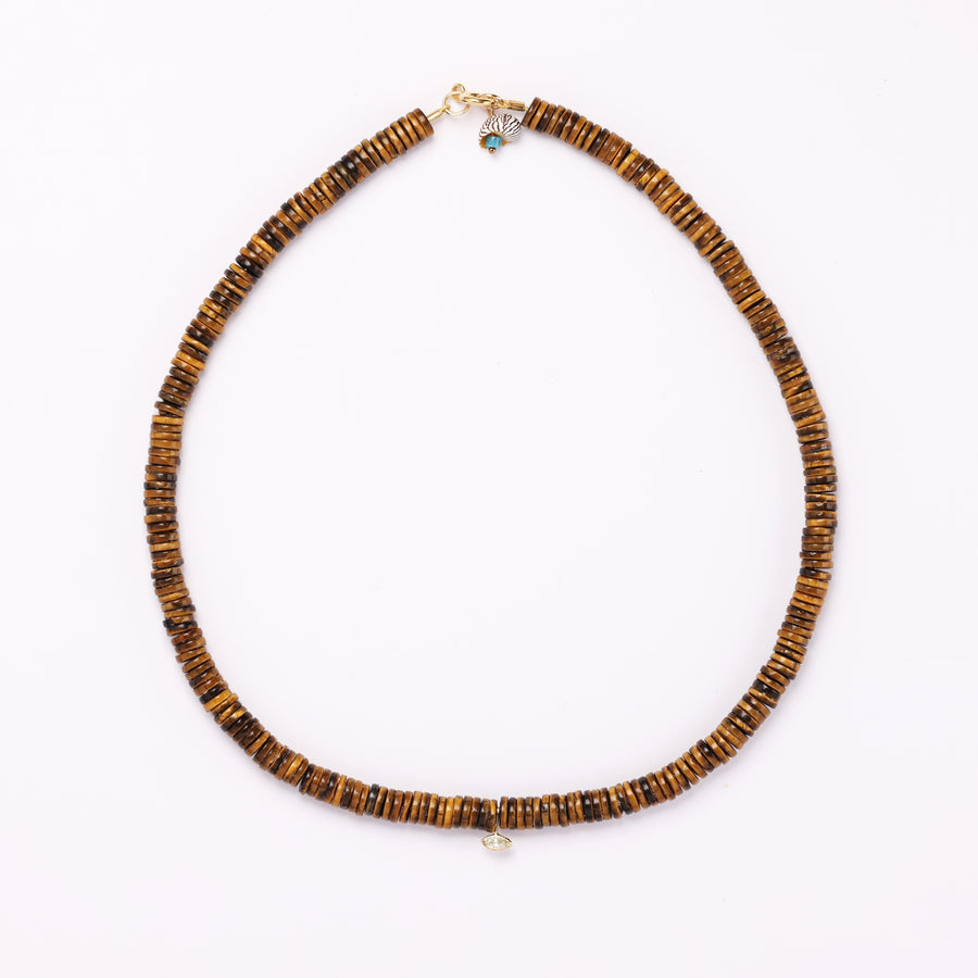 tiger eye and diamond necklace