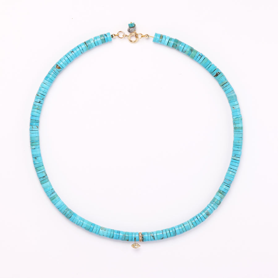 Diamond Charms and Turquoise Necklace