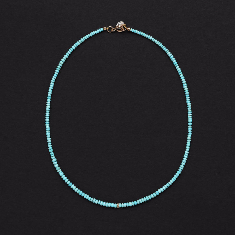 Tiny Turquoise and Diamond necklace