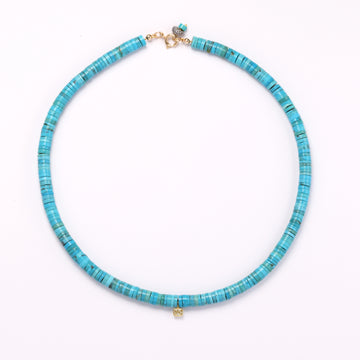 Diamond charm and turquoise necklace