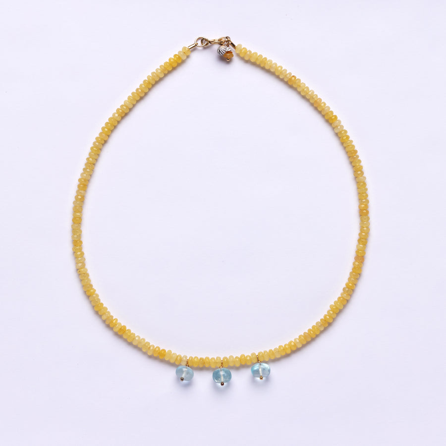 Yellow Jade and aquamarine bocce necklace