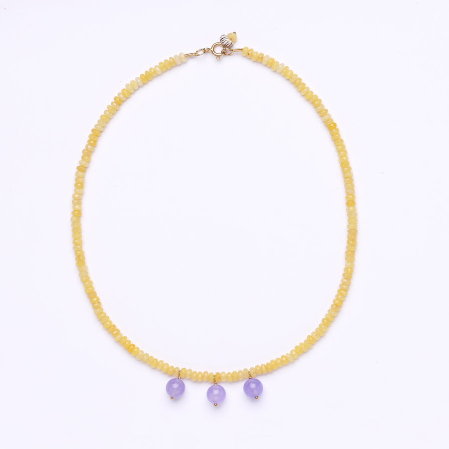 Yellow Jade and purple chalcedony Bocce necklace