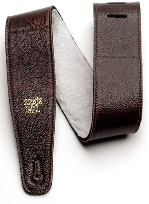 "Ernie Ball 4138 Adjustable Italian Leather Strap With Fur Padding 2.5"" Chestnut"
