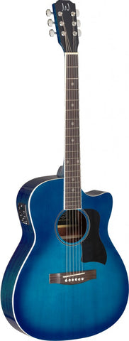 James Neligan BES-ACE Electro Acoustic Guitar, Transparent Blue Burst - front