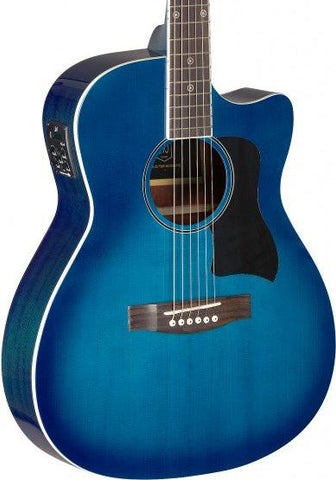James Neligan BES-ACE Electro Acoustic Guitar, Transparent Blue Burst - body