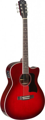 James Neligan BES-ACE Electro Acoustic Guitar, Transparent Red Burst - front
