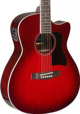 James Neligan BES-ACE Electro Acoustic Guitar, Transparent Red Burst - body