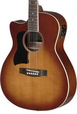 James Neligan BES-ACE Left Handed Electro Acoustic Guitar, Dark Cherry Burst - body