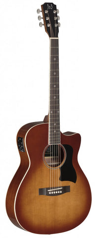James Neligan BES-ACE Electro Acoustic Guitar, Dark Cherryburst - front