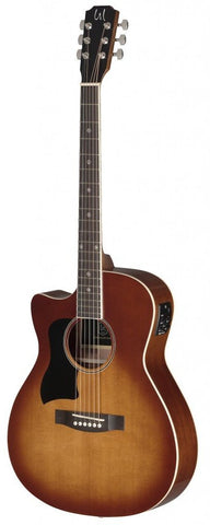 James Neligan BES-ACE Left Handed Electro Acoustic Guitar, Dark Cherry Burst - front