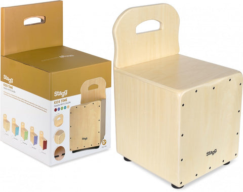 Stagg Kid's Cajon with Easygo Backrest, Natural Frontboard
