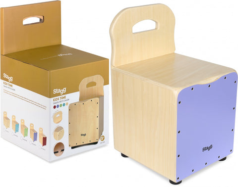Stagg Kid's Cajon with Easygo Backrest, Purple Frontboard