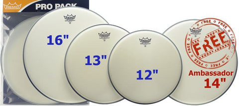 Remo Coated Ambassador Rock Pro Pack + FREE 14