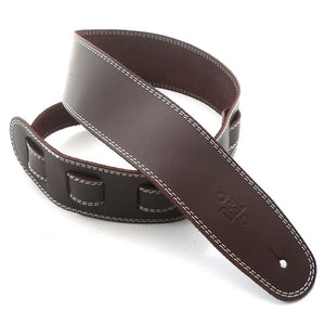 "DSL 2.5"" Single Ply Leather Strap Brown/Beige Stitch"