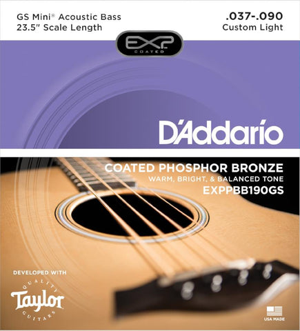 D'Addario<br /> EXPPBB190GS Coated Phosphor Bronze Acoustic, Taylor GS Mini Scale, 37-90
