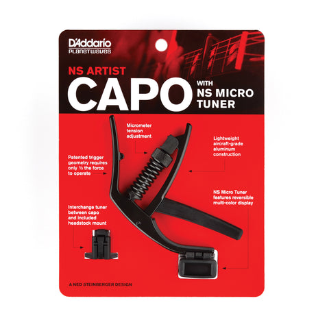 Planet Waves Artist Capo Inc Micro Headstock Tuner -  - ROSE MORRIS - Capos - 1