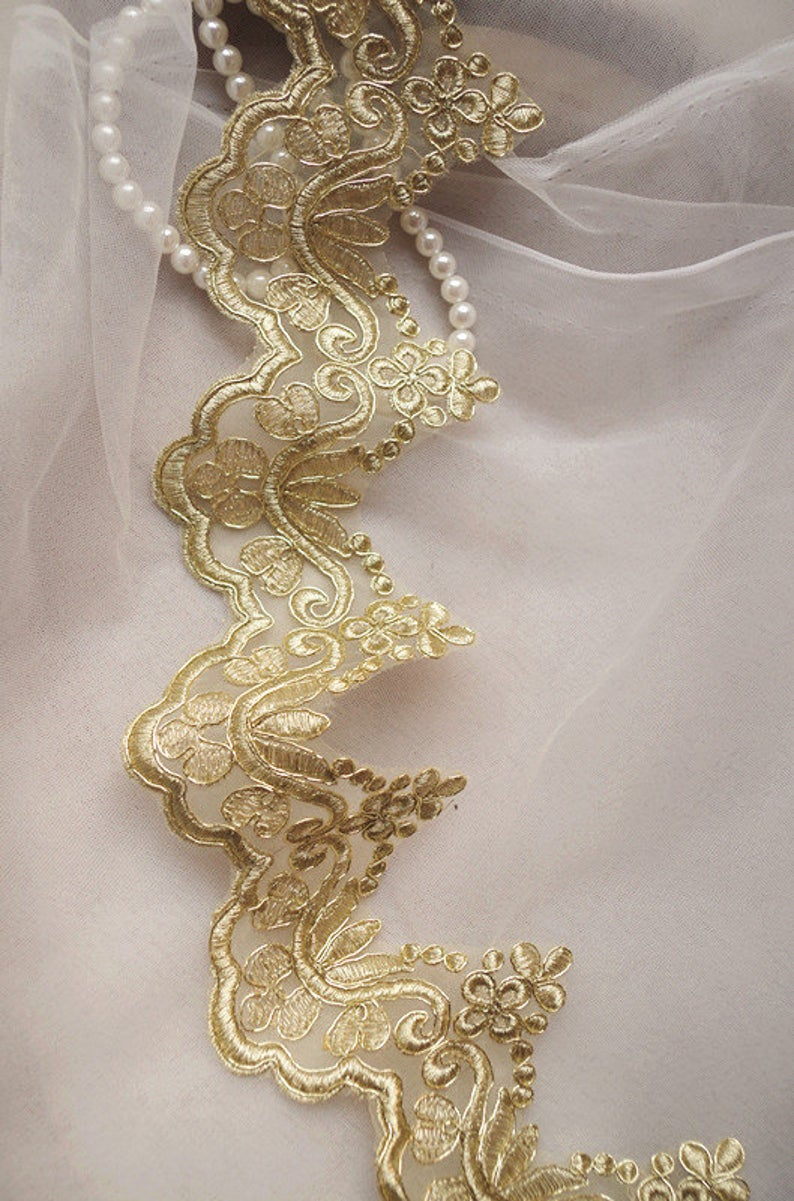 10 yard gold alencon|cord lace| table runner| double edge lace trim on sale
