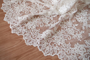 ivory Alencon Lace Fabric with grace floral, corded lace fabric, bridal lace fabric by the yard, cording lace fabric with floral mofif