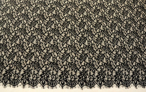 off white Chantilly lace fabric, bridal chantilly lace, retro wedding lace fabric with scalloped edge, eyelash lace fabric