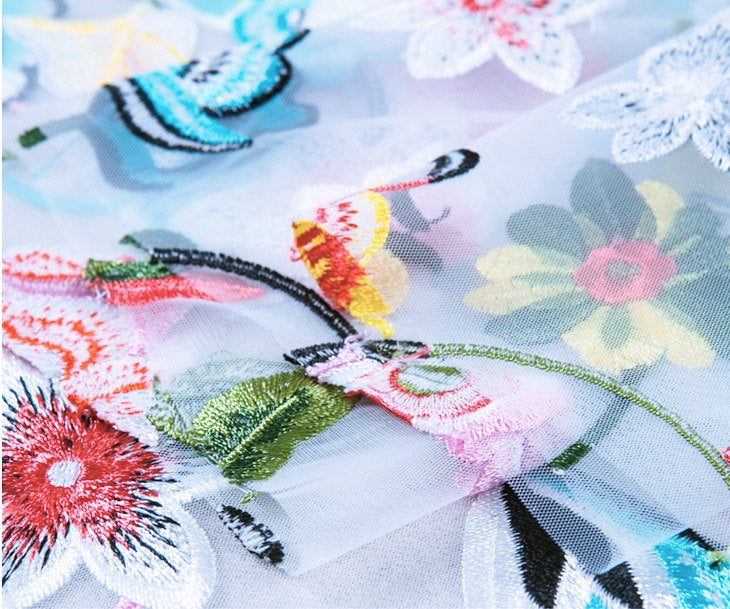 Embroidered tulle lace fabric with multi-color flowers