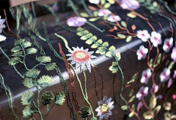 heavy embroidered lace fabric with colorful florals, black tulle lace fabric with multi-color flowers, deluxe embroidery mesh lace fabric - lace era