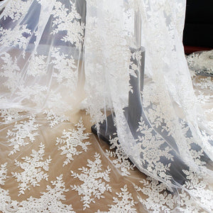 ivory Alencon Lace Fabric, corded lace fabric with sequins, bridal lace fabric cording lace fabric with floral mofif