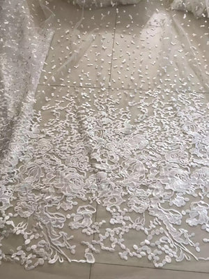 bridal Lace Fabric, off white embroidered tulle lace fabric, retro floral lace, mesh lace fabric, bridal dress lace fabric, prom dress