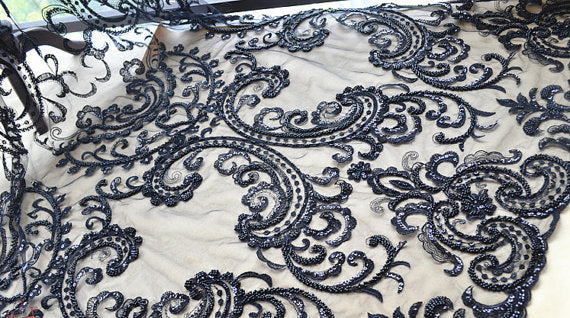 black heavy beaded lace fabric with scallops for bridal dress and haute couture - lace era