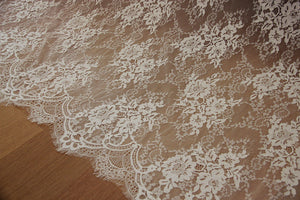 off white Chantilly lace fabric, bridal chantilly lace, French lace fabric with scalloped borders, ivory lace fabric with eyelash