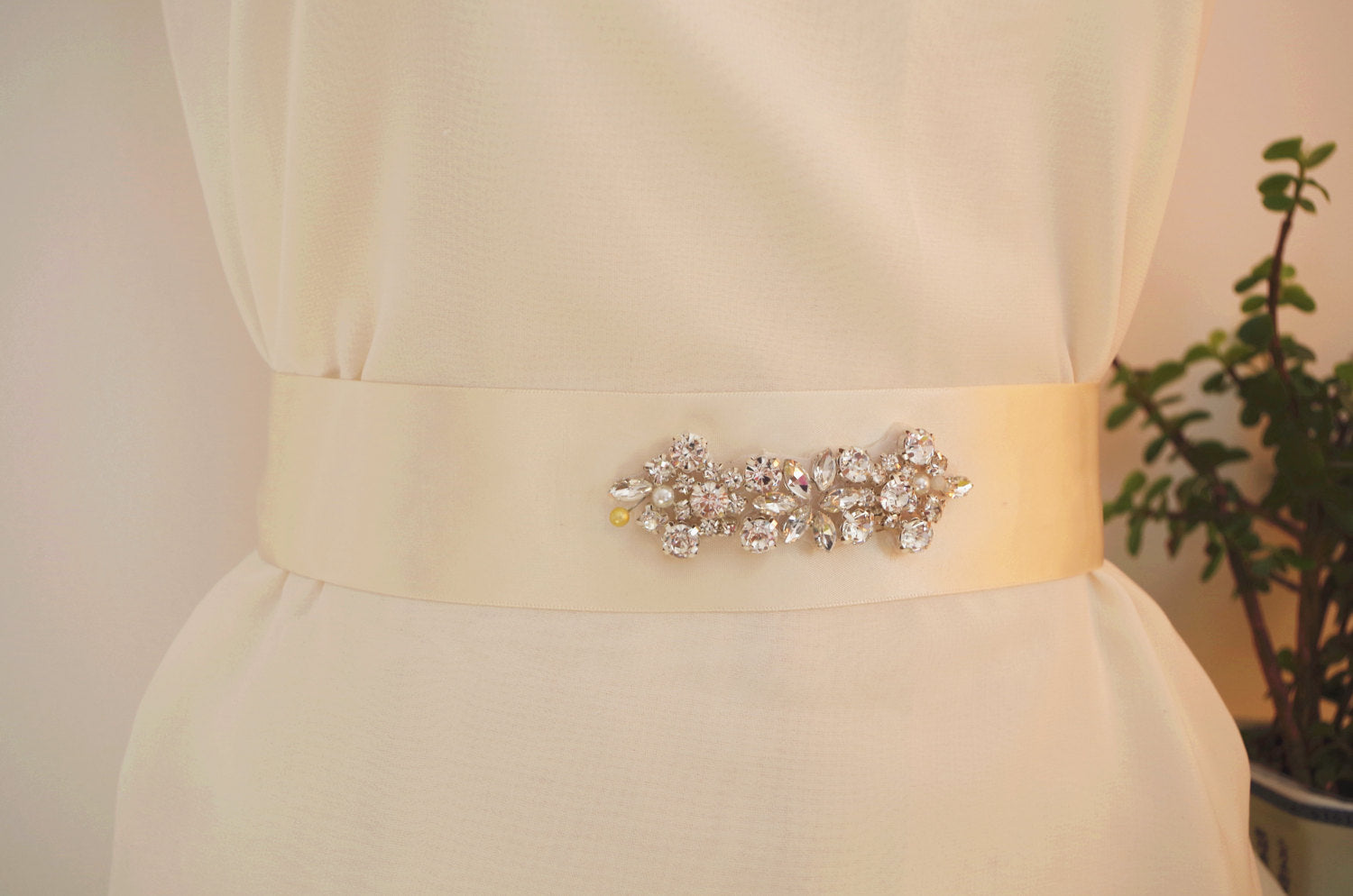Clear Rhinestone Sash belt applique, bridal crystal floral sash applique, bridal sash belt, rose gold crystal headband, bridal headpiece