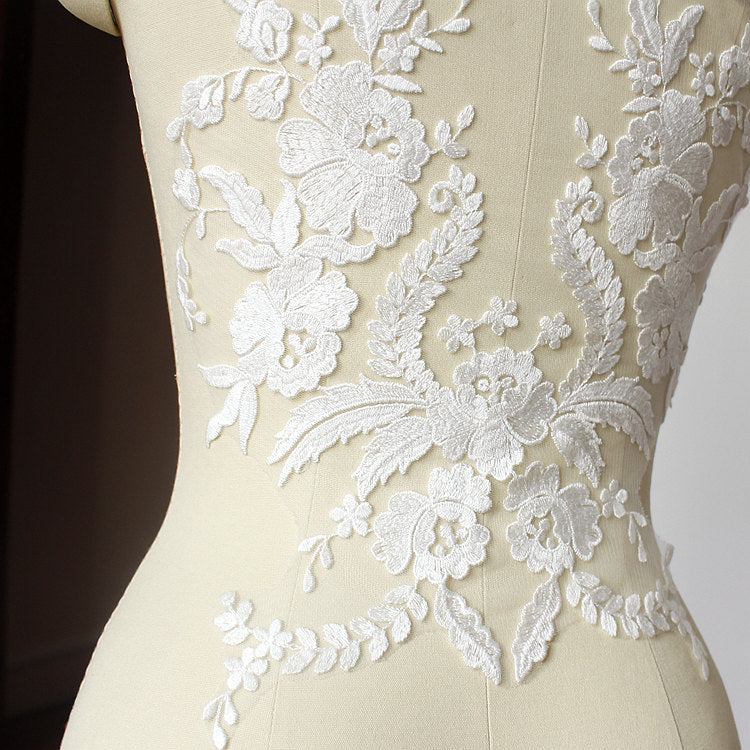 Lace Applique,  embroidered bodice lace applique, lace bodice for bridal dress altering