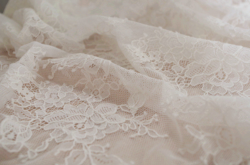ivory French lace fabric,chantilly lace fabric, alencon lace fabric for bridal dress, French lace fabric on sale, new arrival