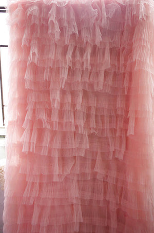3D peach pink ruffle Fabric, pleated fabric, haute couture fabric, Photography Prop Backdrop, Wedding Decors, wedding prop, bridal dress