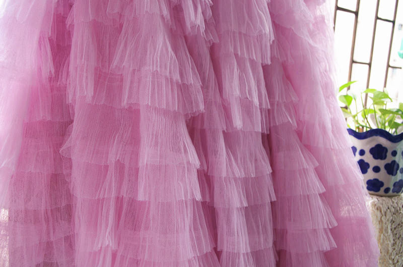 3D pink ruffle Fabric- lf209 - lace era