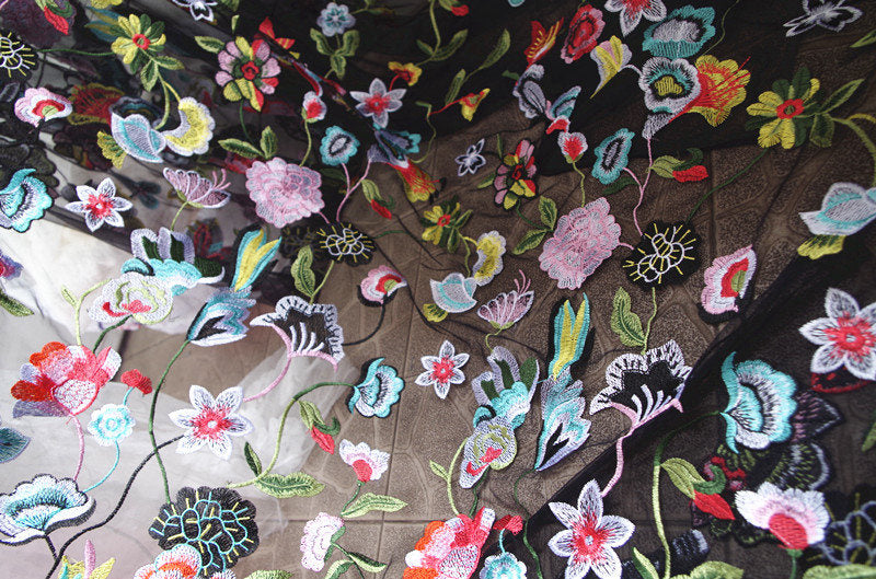 heavy embroidered tulle lace fabric, embroidered tulle lace fabric with colorful flowers, deluxe embroidery mesh lace fabric with flowers