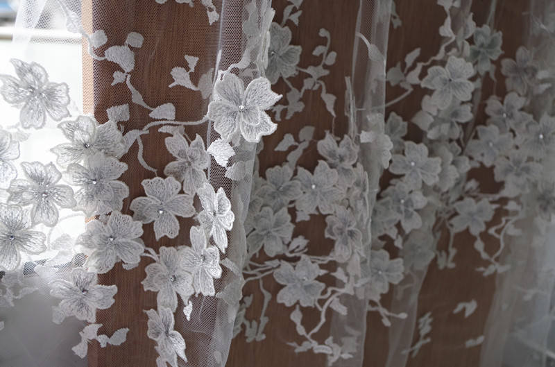 3D lace fabric with flowers, bridal lace fabric, off white lace fabric for haute couture dress, mesh lace fabric with 3D flowers