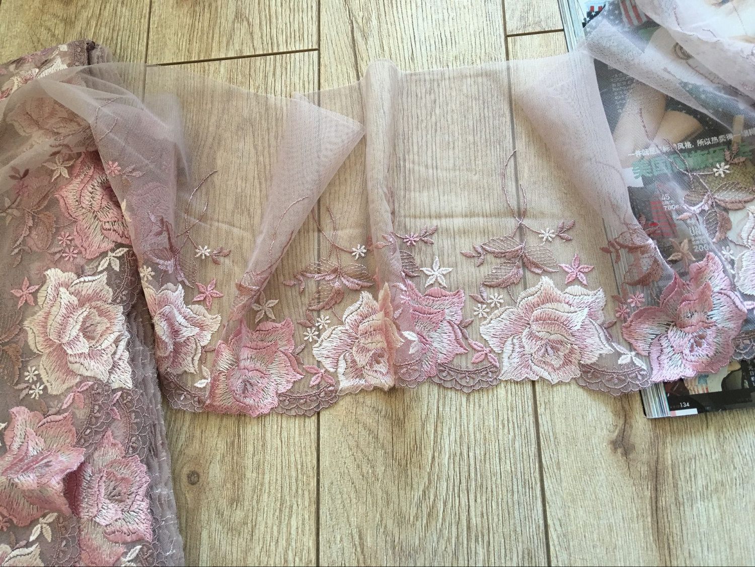 fine embroidered lace trim, tulle lace trim with colored embroidery, dusty pink mesh lace trim with pink peony rose, colored tulle lace