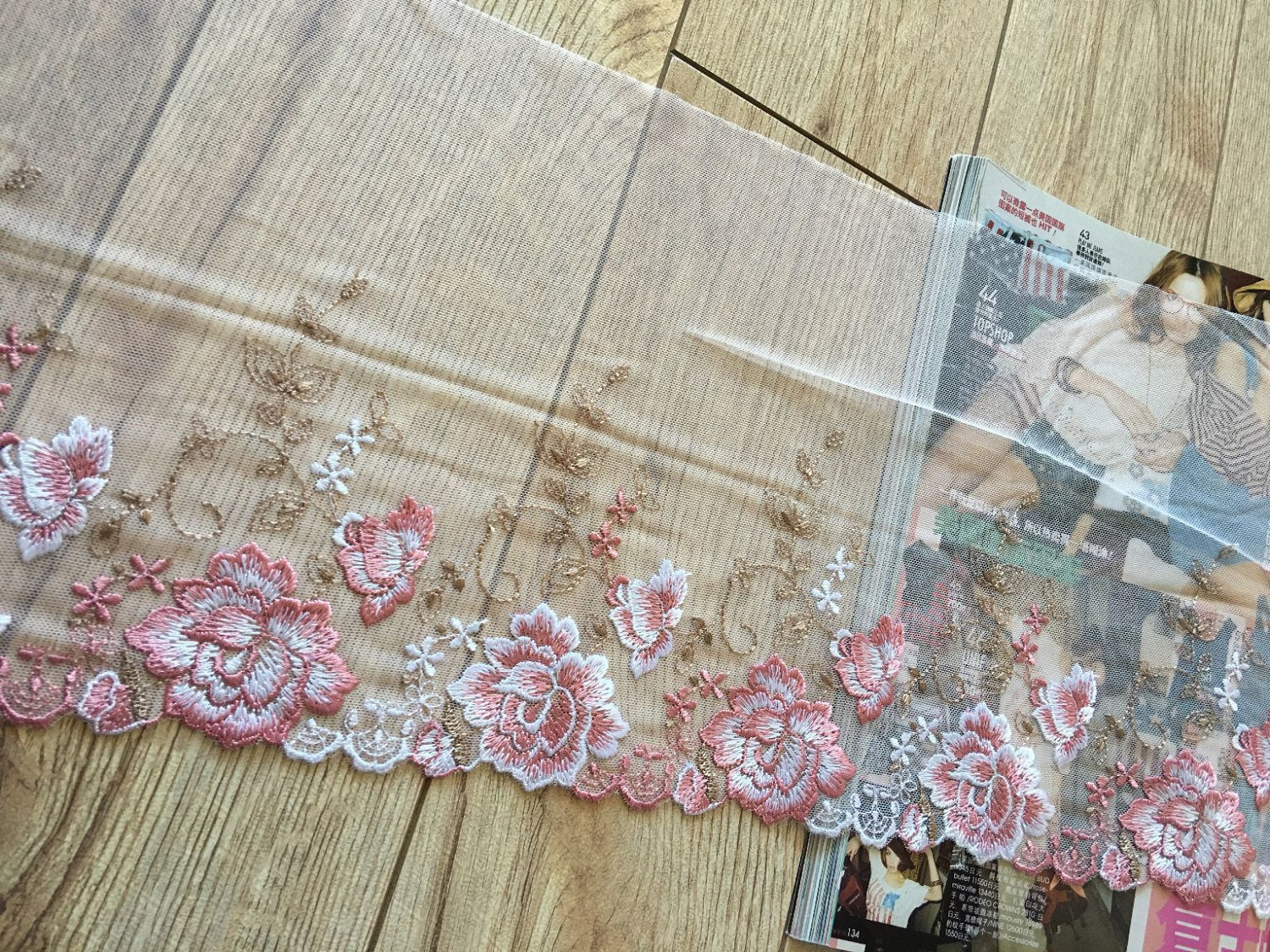 fine embroidered lace trim, off white mesh lace trim with pink peony rose, colored tulle lace trim with delicate florals