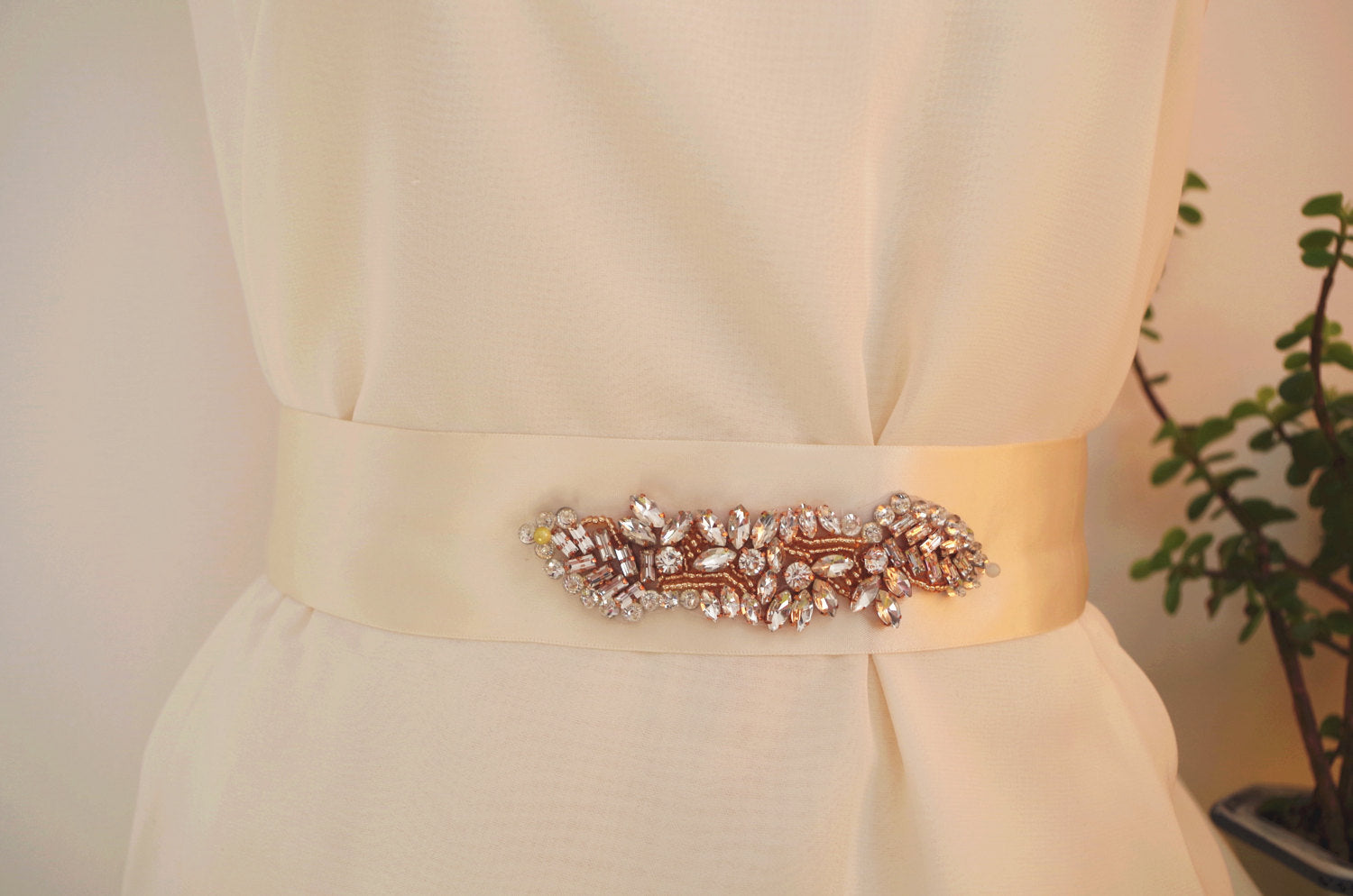 rose gold Rhinestone Sash belt applique, bridal crystal floral sash applique, bridal sash belt, rose gold crystal headband, bridal headpiece