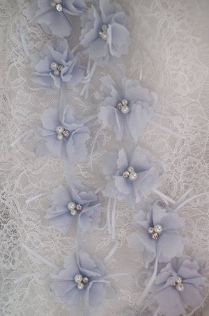 3D blue rosette trim,  lace applique, 3D bead lace applique with rosette, 3D flowers lace applique, bridal lace appliques, bridal headpiece