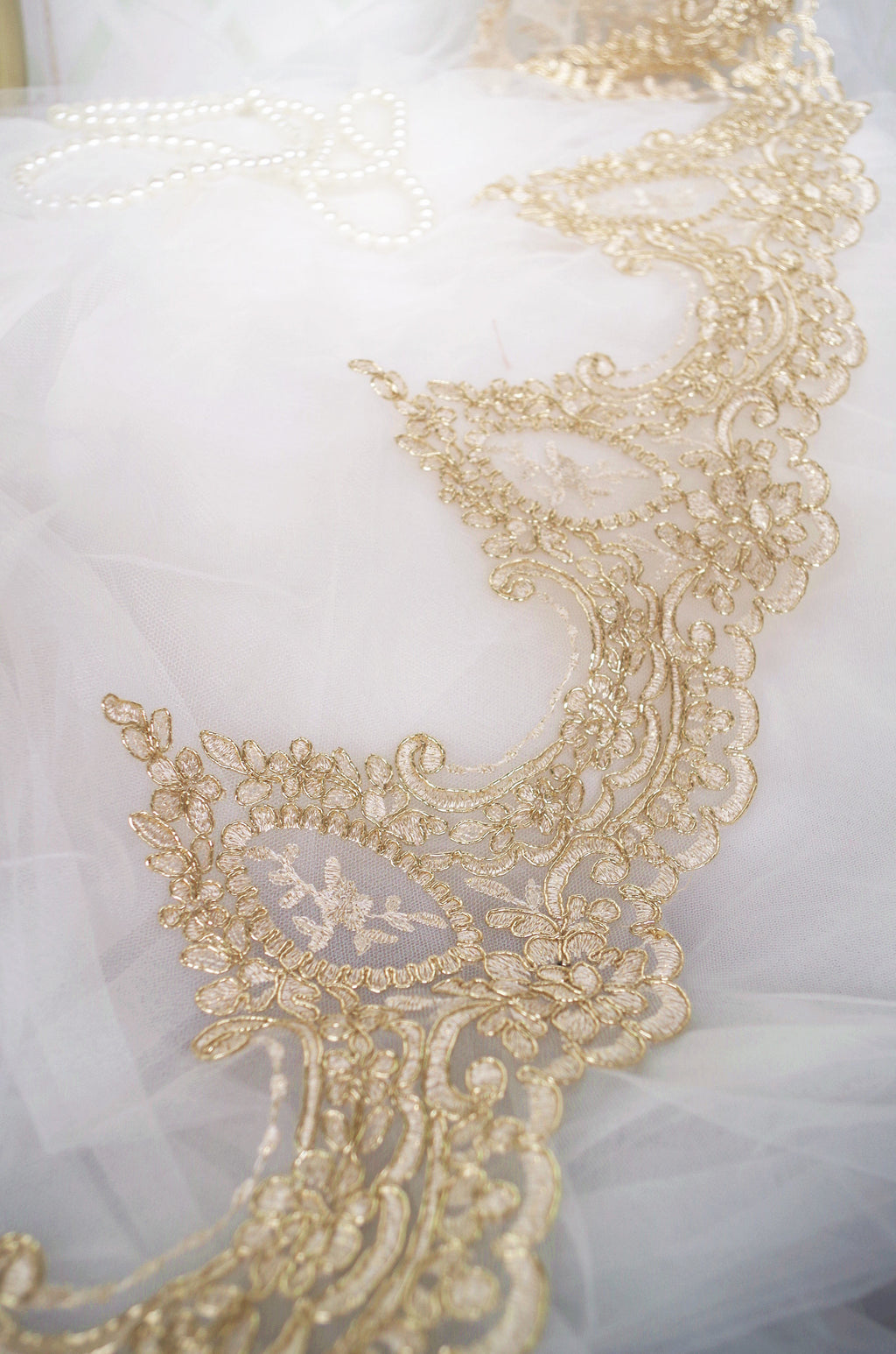 gold alencon lace trim, gold cord lace trim, cording lace trim, embroidered gold lace trim - lace era