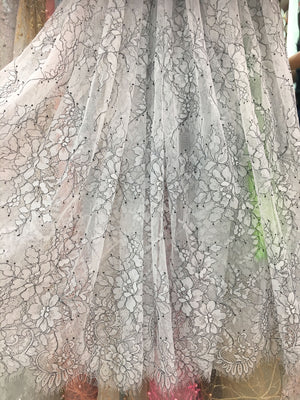 off white chantilly lace fabric, lace fabric for bridal dress, French lace fabric on sale, 2017 new arrival