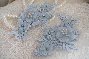 2pcs blue lace applique, 3D heavy bead lace applique with roses, 3D flowers lace applique, bridal lace appliques, bridal headpiece