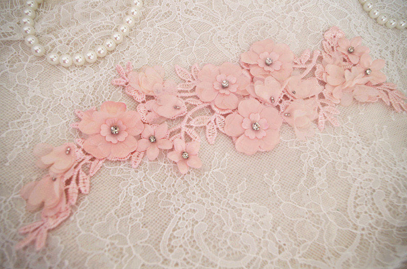 off white lace applique, 3D heavy bead lace applique with roses, 3D flowers lace applique, bridal lace appliques, bridal headpiece 2pcs