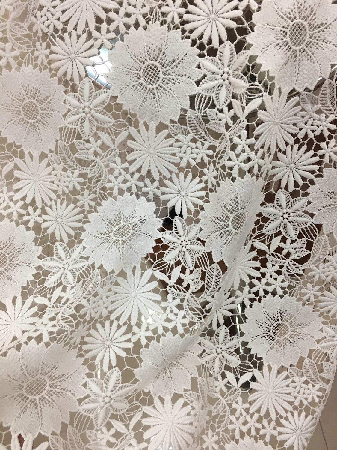 off white lace fabric, venise lace fabric, guipure lace fabric with flowers