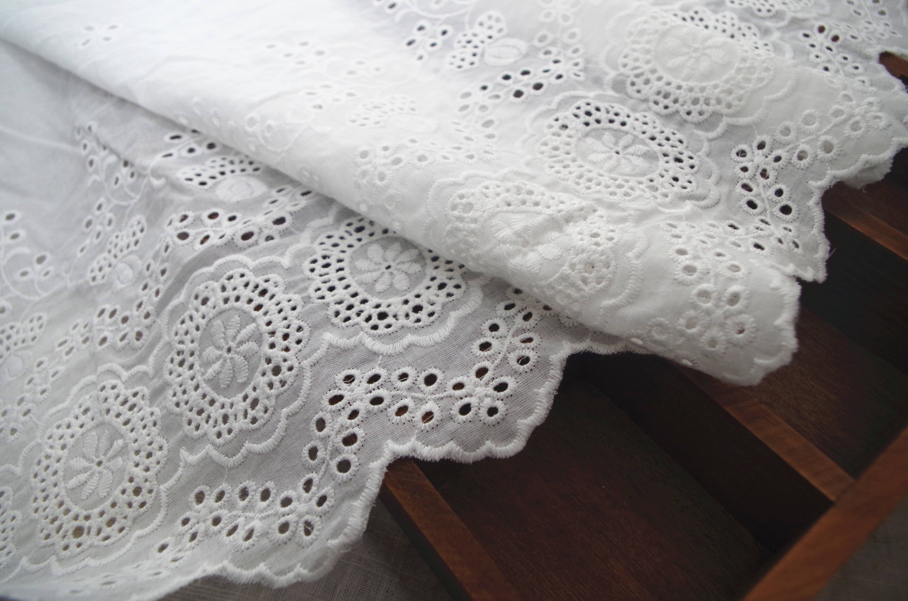 natural Cotton Lace trim, embroidered eyelet lace trim, cotton lace trim with hollowed out floral, cotton eyelet lace fabric