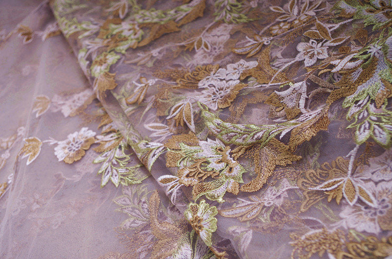 heavy embroidered tulle lace fabric, embroidered tulle lace fabric with florals, deluxe embroidery mesh lace fabric, multi-color lace
