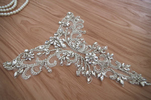 rhinestone bridal neckline applique for bridal dress, rhinestone collar for wedding dress, craft bridal gown supplies, rhinestone  necklace