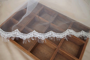 ivory Lace Trim for bridal veil with fringe, alencon lace trim, scalloped lace, French lace trim, eyelash lace trim CG113