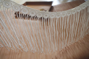 off white lace fringe, guipure lace fringe trim for couture